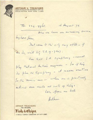 """ARTHUR TREACHER - AUTOGRAPH LETTER SIGNED 08/15/1974. UACC Registered Dealer, #RD110 and member of the Manuscript Society! Stain (½x½) in upper left corner. He was awarded top billing in Thank You Jeeves (1936) and Step Lively Jeeves (1937), both based on the butler character created by P.G.Wodehouse. Slightly creased. Love from us both. A unique centerpiece for the home or office! Only 100% Authentic Autographs & Manuscripts. Autograph Letter signed: """"Arthur"""", 1p, 8¼x11."""