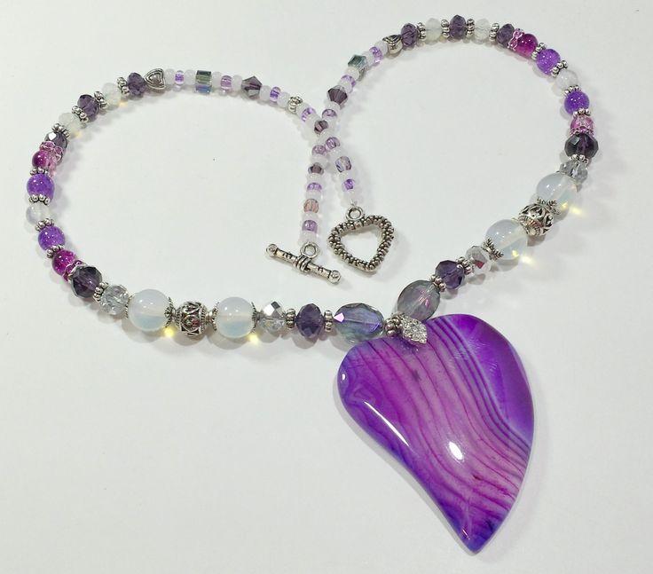 Purple Pendant Necklace, Heart shaped Stone agate purple pendant necklace, approximately 18 and 1/2 inches long. by B4Jjewelrydesigns on Etsy