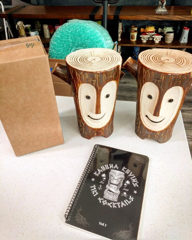 Heading out in a couple hours, 2 Tiki Logs, signed Lava Idol No. 44/50 and Vol. 1 cocktail book. One of the Log bowls is heading to Australia! There's 1 Tiki Log left in stock and a few Lava Idols ready to ship tonight at www.KahunaKevin.com  #kahunakevin #smallbusiness #giftideas #gifts #madeinusa #tiki #tikimugs #tikilog #cocktailbooks #cocktails #drinks #bartending #barware #coolgifts #gifsforhim #mug #idol #idolbastard #lava #stone #signed #numbered #gold #eekumbookum #retro #pinup