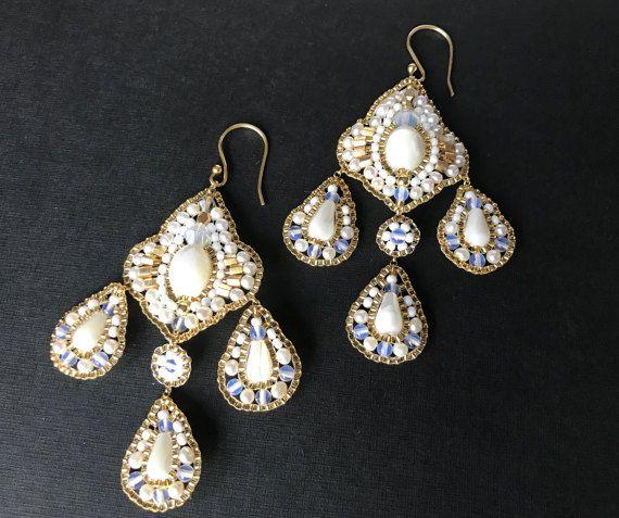 Wedding Earrings Gold Bead and White Freshwater Pearl Jewelry Bridal Earrings Teardrop Drop Earrings Art Deco  Wedding gift ideas