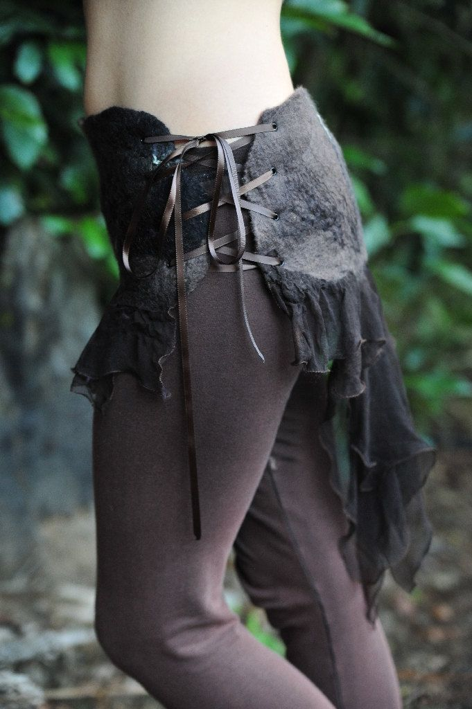 Felt Pixie Woodland Silk Corset Closure Belt OOAK. $104.00, via Etsy.