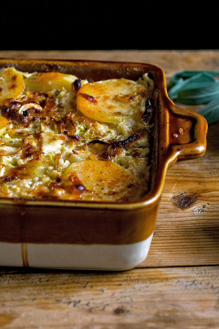 Like slow-cooked onions, slow-cooked cabbage takes on color, becoming meltingly tender and sweet. Because of the bulk of the potatoes, this gratin makes a satisfying vegetarian main dish, though it certainly works just as well as a side. (Photo: Andrew Scrivani for The New York Times)