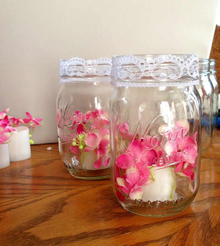 Silk Flowers Hot Glued To Flame Less Candles From Hobby Lobby Dropped Into  Mason Jars With Lace Ribbon On Rim. Simple Table Decorations ...