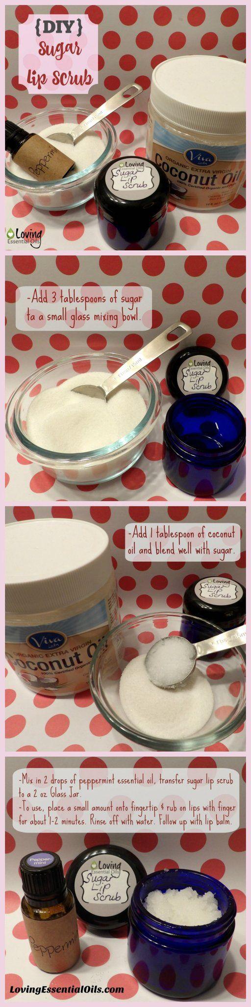 DIY Sugar Lip Scrub Tutorial http://www.lovingessentialoils.com/blogs/diy-recipes/108247942-easy-sugar-lip-scrub-for-kissable-lips Get kissable, soft lips with this sugar scrub.  Need sugar, coconut oil , peppermint essential oil and glass jar for storage.  Must try recipe!