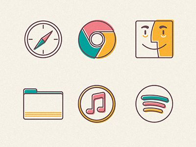 Line style icons with a shift of colour.