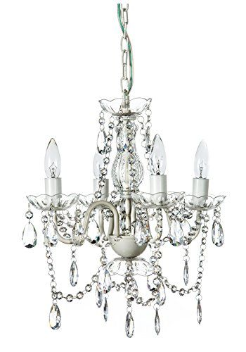 FOR MY ROOM Gypsy Color 4 Arm CRYSTAL WHITE Small Acrylic CRYSTAL CHANDELIER New Chic Lighting Ceiling Fixture Entryway Bathroom Bedroom Closet Chandeliers, Crystal White | shopswell