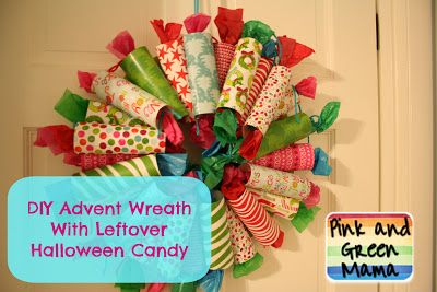 Love this idea! Pink and Green Mama: DIY Advent Wreath Style #2 with Scrapbook Paper and Leftover Halloween Candy!