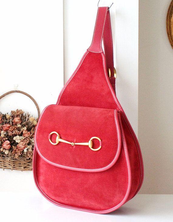 49404c854f5 Authentic Gucci Backpack Red Suede vintage handbag Horsebit Sling Bag in  2018