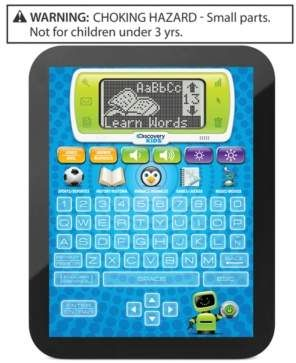 Learning is fun!  Discovery Kids Toy, Learning Tablet. The Discovery Kids Bilingual Teach and Talk Tablet makes learning fun and easy with over 60 interactive activities. The Tablet allows kids to learn about history, sports, animals, music, and much more. Perfectly compact, it is easily portable for car or plane rides, and fits into most backpacks.