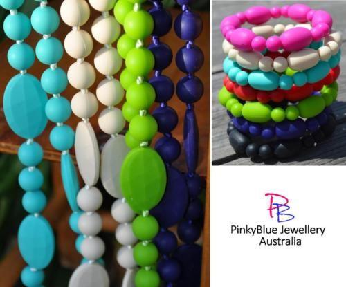 Price: $20.00 http://www.ebay.com.au/itm/SILICONE-NECKLACE-AND-BRACELET-SET-Funky-Fashion-Jewellery-Mixed-Beads-/252245072499?ssPageName=STRK:MESE:IT