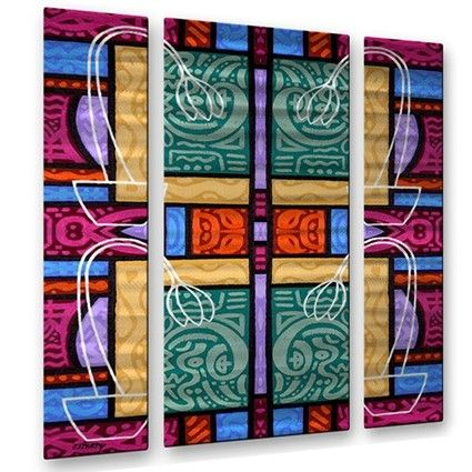 'Abstract 79' by Patrick Murphy 3 Piece Painting Print Plaque Set