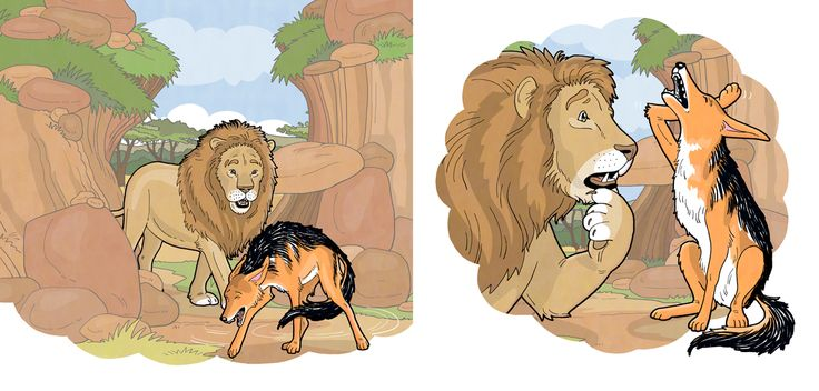 Here the naughty jackal tricking Mr lion, from the Vuma Level 8 literacy series. #chantelleandburgenthorne #illustrators #childrensbook #illustration #published #education #reader