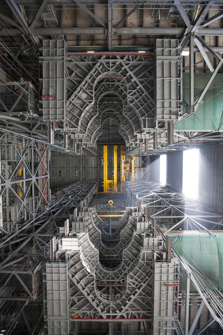 July 13, 2016 Looking Up at New Work Platforms in the Vehicle Assembly Building View of upper floors of Vehicle Assembly Building taken from ground