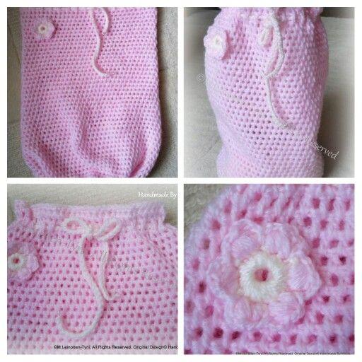 Virkattu Toukkapussi, crocheted baby cocoon