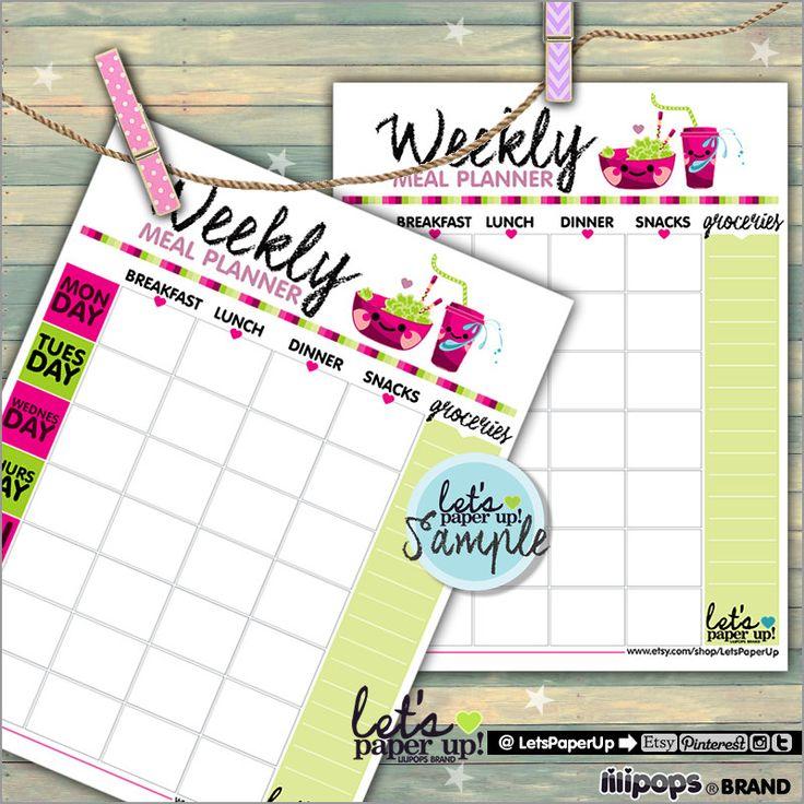 60%OFF - Meal Planner, Printable Planner, Weekly Meal Planner, To Do List, Food Planner, Week Planner, Organizing Printables, Kawaii, Meal