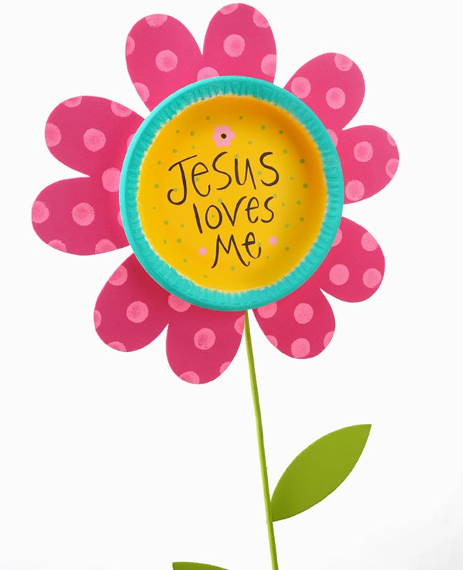 """Jesus Loves Me Flower Stake (could write """"this I know"""" and """"for the Bible tells me so"""" on the leaves)"""