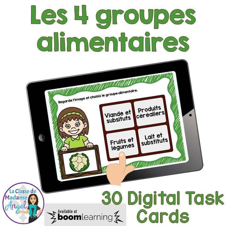 Les quatre groupes alimentaires!  Students will love practising the identification of the 4 food groups with this set of digital task cards in French!