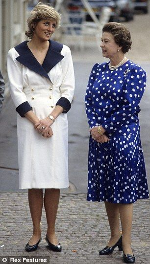Princess Diana and The Queen at Clarence House, London in 1987.