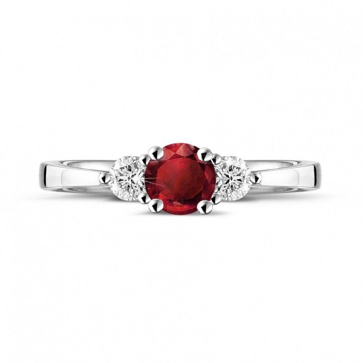 Angara Plush Ruby Ring in Platinum sqOdom