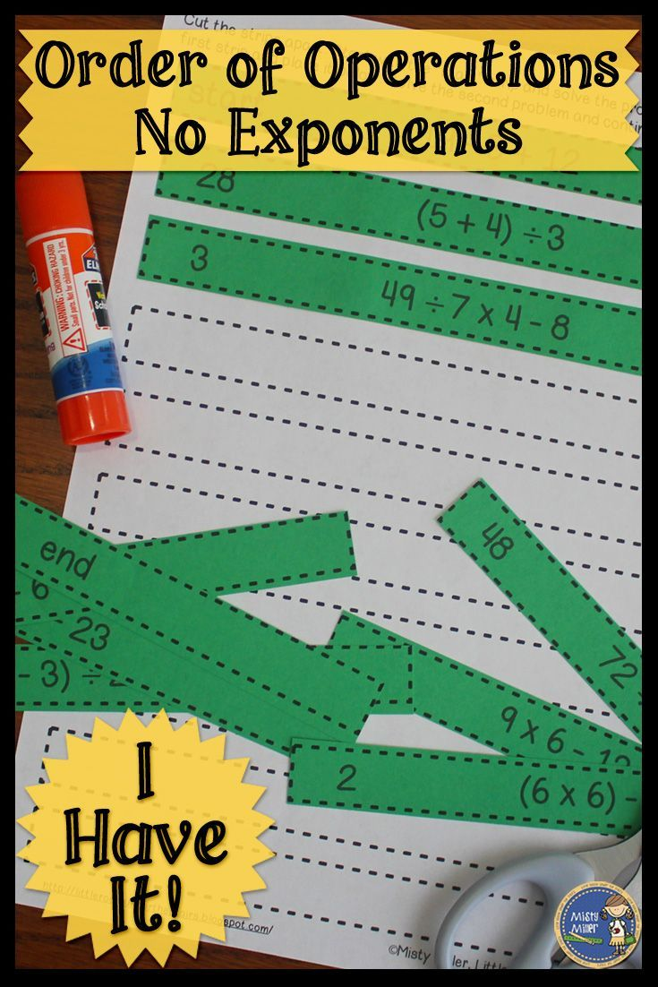 Practice order of operations (no exponents) with this cut & paste activity. I Have It is great for individual work, interactive notebooks, or math centers. Click here to check it out! $ gr 5-7