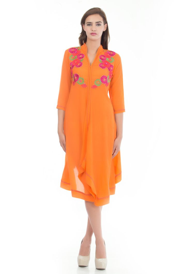 Embroided Summer Dress -> - Crushed Cotton - Orange Color - Dress with Emboidery on Front Bodice - Top Stitching Detail on Collar, Sleeve and Hem - High/Low Hem  Order Now : http://www.rinkusobti.com/clothing/embroided-summer-dress