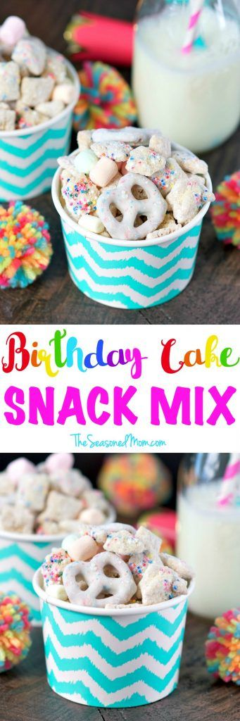 This salty-and-sweet Birthday Cake Snack Mix is the perfect nut-free snack or dessert to serve at parties, in the school classroom, or for any other festive celebration!