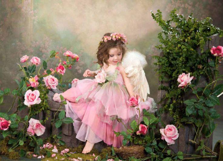 Открытка с цветами с ребенком