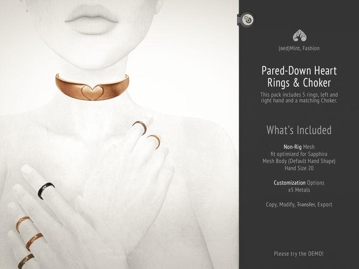 (r)M, Pared-Down Heart Ring & Choker for Sapphira Mesh Body [Kitely Market]