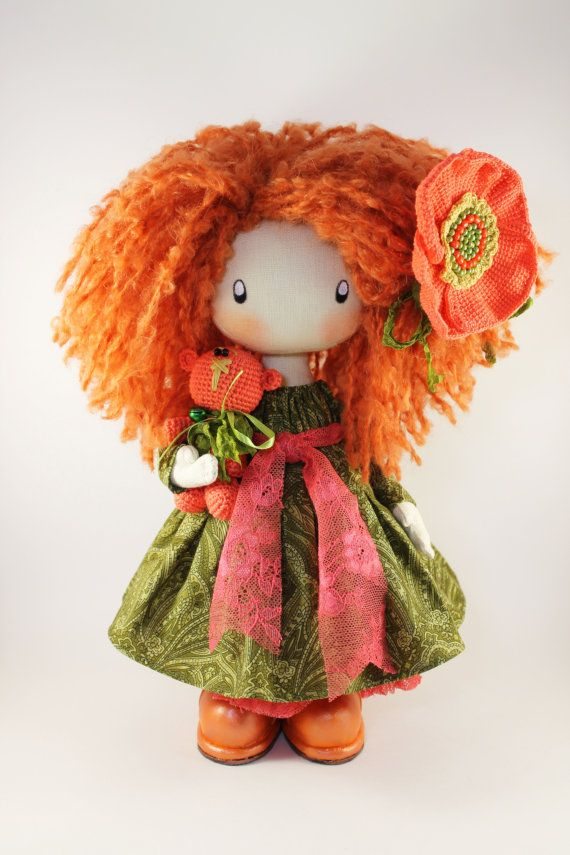 Doll Ivy redhead textile doll rag doll cloth by DollsLittleAngels