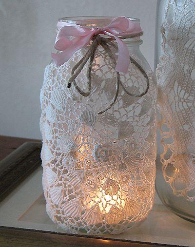 diy doily/ wedding lanterns