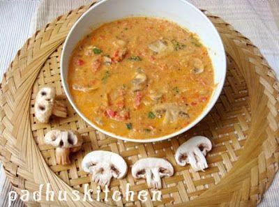 Padhuskitchen: Mushroom Korma-Mushroom gravy Indian-Mushroom masa...