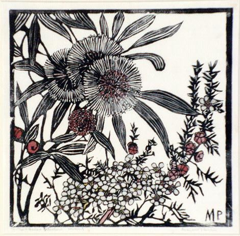 Tea Tree and Hakea Petiolaris, 1936. Margaret Preston. Relief Woodcut, hand coloured.