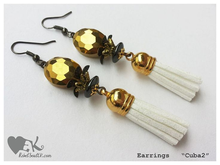colonial style white tassels gold heatite crystals gunetal RebelSoulEK earrings