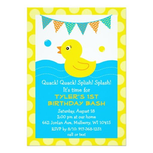 396 best Duck Birthday Party Invitations images – Rubber Duck Birthday Invitations