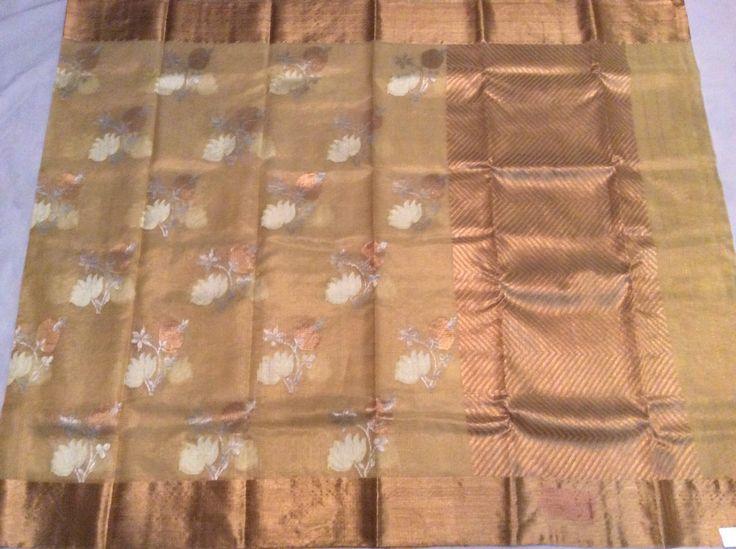 Beige pure zari tissue kota with all over thread and zari buttas