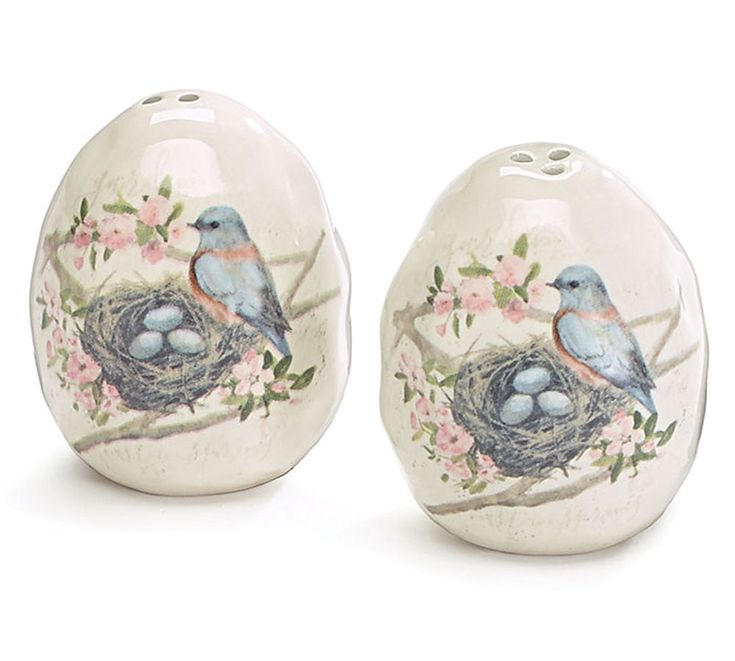 Bluebird Egg Salt Pepper Shakers Ceramic Garden Grove Burton+Burton Gift Boxed #BurtonBurton