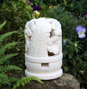 STEINLATERNE FRANGIPANI Kalkstein Deko Gartenlaterne Dekolaterne Bali Dekor