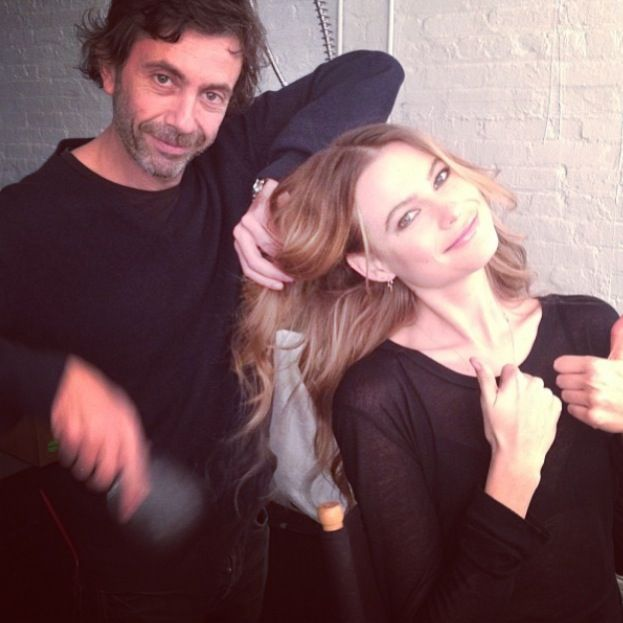 Leonardo Manetti #BTS with gorgeous Behati Prinsloo <3 #ionstudionyc