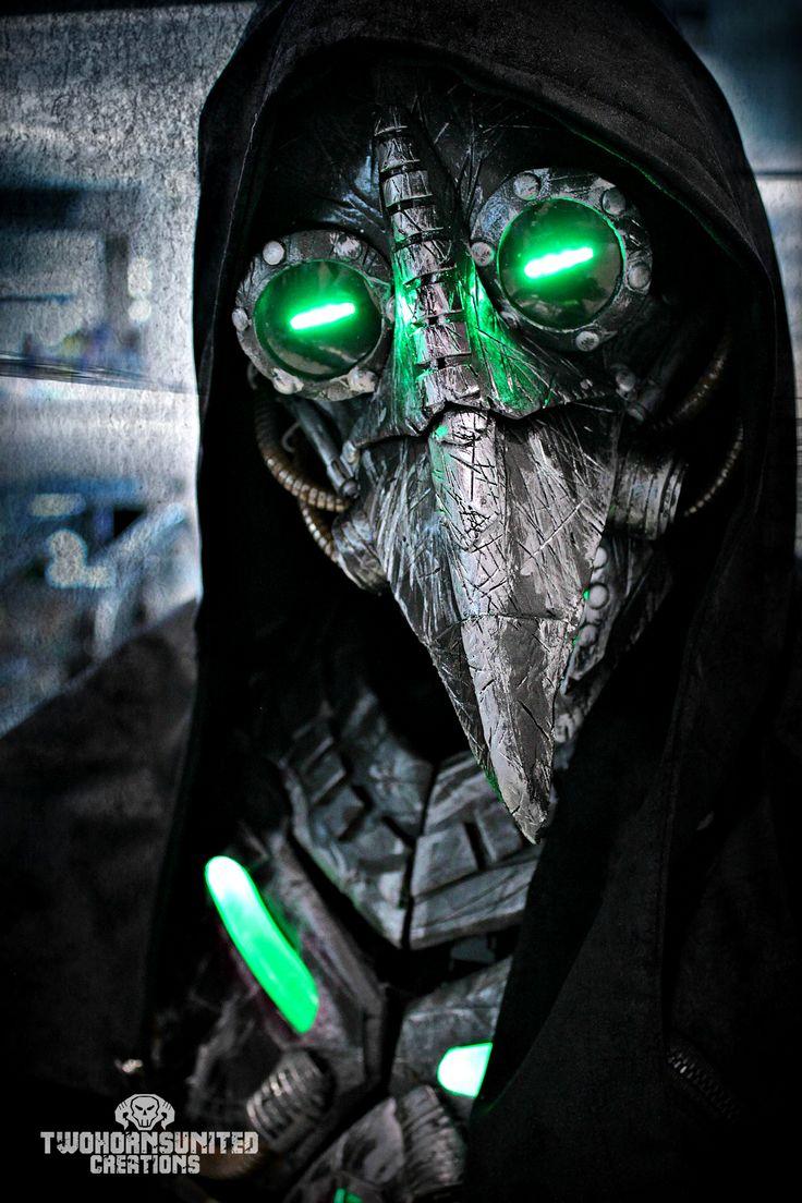 Plague knight - LED cyberpunk plague doctor mask by TwoHornsUnited.deviantart.com on @DeviantArt