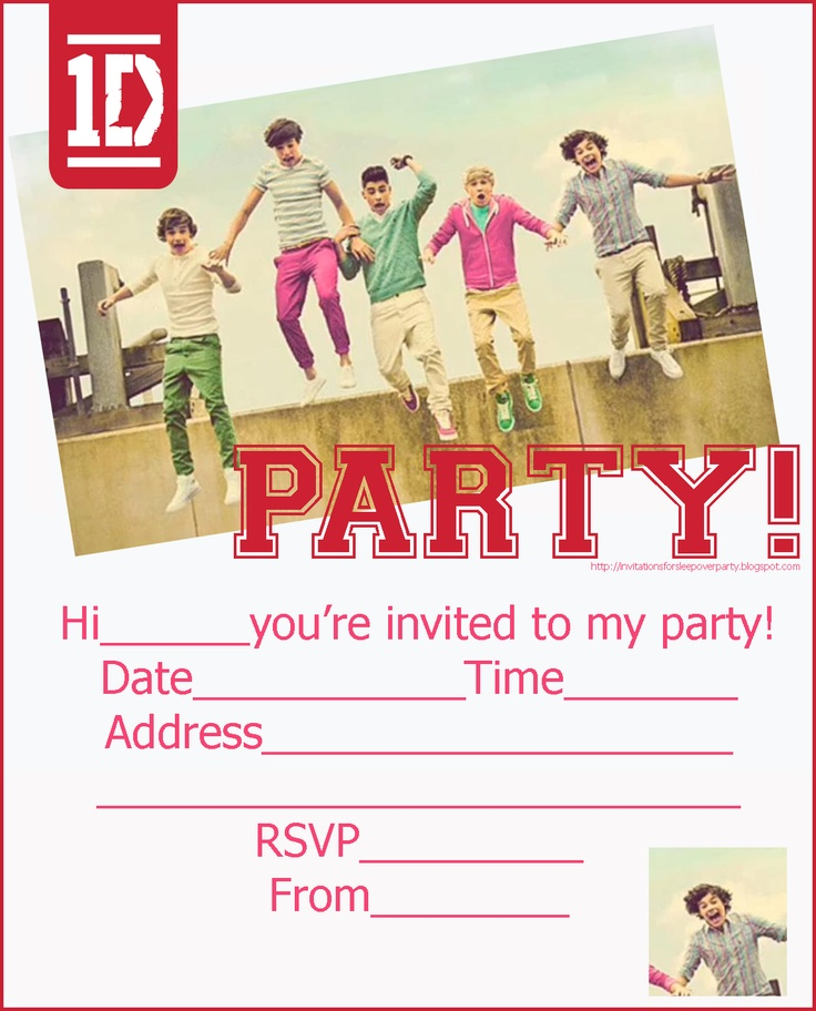 Pages Invitation Templates Free One Direction Boy Band Party Invitations  Printable Custom Ticket .