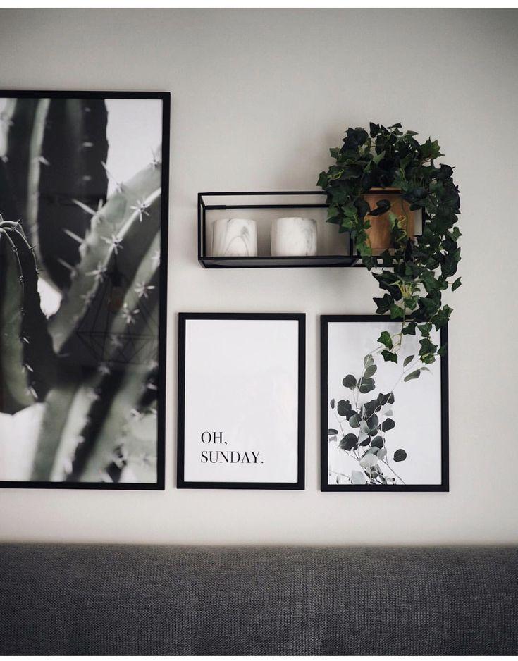 Galeriewand mit einfachen Drucken und Pflanzen #dr…