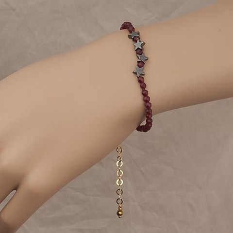 Handmade Burgundy Crystal Bracelet With Dark Grey Stars  At Anthoshop.com