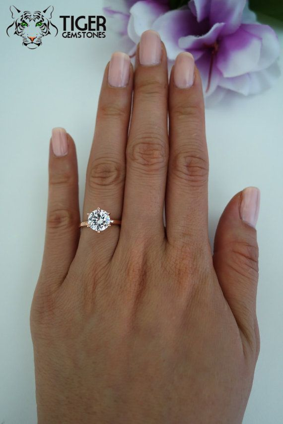 2 carat 6 Prong Solitaire Engagement Ring Round by TigerGemstones