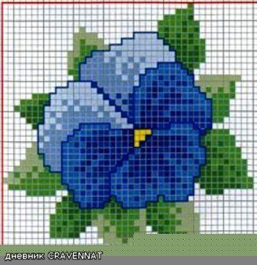 Вышивка крестиком. Анютины глазки (3) (370x381, 101Kb)