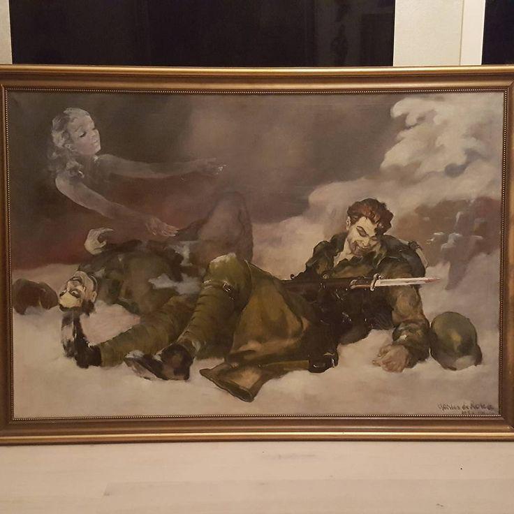 """Fantastisk oljemaleri av Charles Roka fra 1937 👌👏 Signert Charles de Roka 1937 Klekken. Roka jobbet med å male motiver på Klekken hotell 1936/1937. Måler ca 114x163 cm. Dessverre litt ukjent side av Roka. Roka stilte ut to malerier på en utstilling i Lausanne 1939. Der stilte han ut """"Klippe og Bølge"""" og """"Mann med dødningshode"""" #charlesroka #kingofkitsch #kongenavkitsch #art #kunst #oljemaleri #vintage #vintagekitsch #kitsch #vintageart  #oilpainting #ww1 #1937 #hungary"""