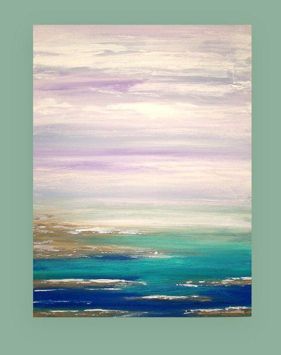 Se trata de una original de una buena pintura abstracta sobre lienzo por el artista acrílico Birenbaum Ora. Esta es una pintura impresionante en persona. Textura hermosa y maravillos polvorientos tonos de lavanda, aqua, arena, verde azulado, azul y toques de peltre metálico. Encajaría perfectamente en cualquier decoración. Partes serán acabadas y llegan firmado, sellado y atado con alambre para la visualización fácil. Título: Cielos lavanda 2 Dimensiones: 30x40x1.5 MEDIO: Acrílicos sobre ...