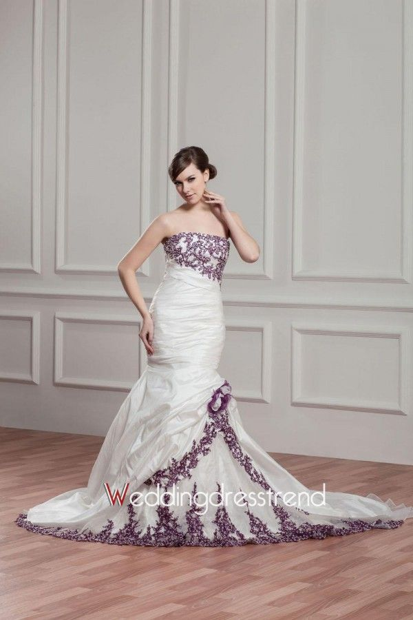 Cheap Fancy Trumpet/Mermaid Strapless Appliqued Taffeta Wedding Dress with Flowers - the Best Wedding Dresses Online Wholesaler and Retailer