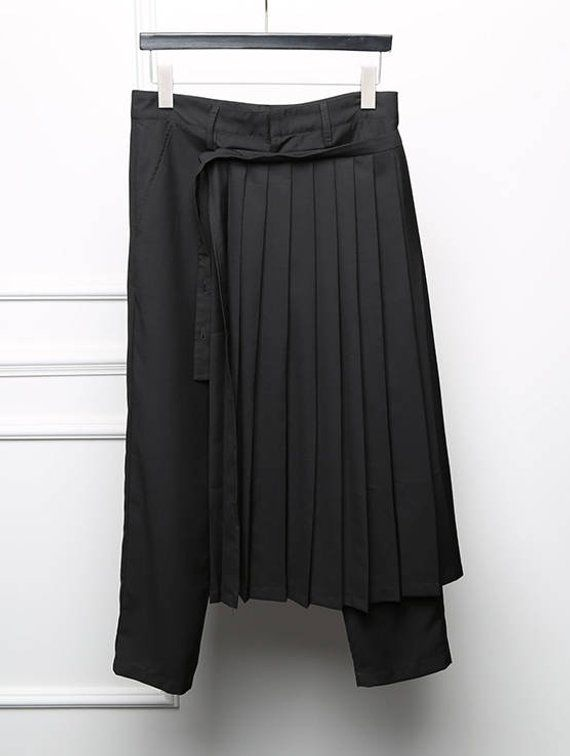 Mens Asymmetrical Black High Rise Loose Fit Costume Layer Skirt Pants Trousers