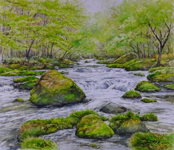 安家川から・松ケ沢 [岩手県・岩泉町] : 水彩画 from いわて | BLOG