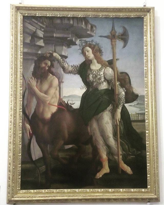 """Pallade and Centauri by Botticelli. """"Deo amante """" guess why?"""